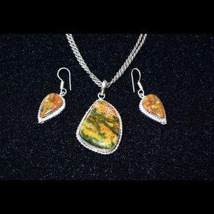 The Happy Stone Rainforest Jasper Pendant/Earrings
